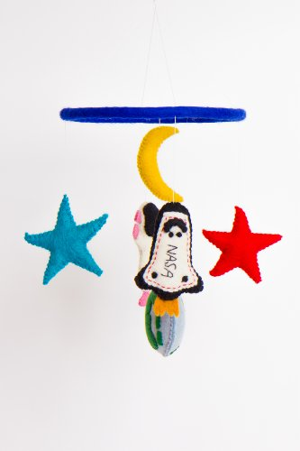 Nursery Mobile - Outer Space - This felt mobile features an astronaut, the planet earth, a space shuttle and the moon and the stars
