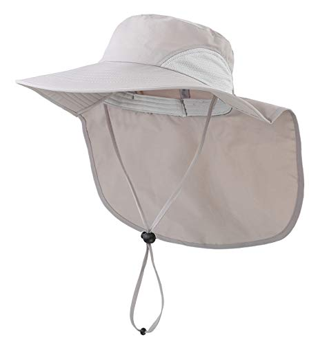 Home Prefer Mens Sun Hat with Flap Summer Neck Cover Fishing Cap Wide Brim Sun Protection Hat Light Gray