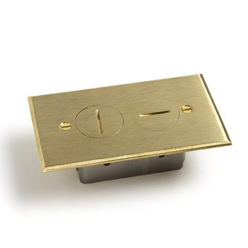 Lew Electric RRP-2 Floor Box Cover Recessed Duplex Receptacle - Brass