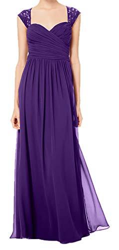 Abendkleider Damen Spitze Brautmutterkleider Brautjungfernkleider Elegant Lila Charmant Festlichkleider lang Otq7q
