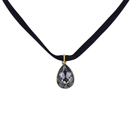 Anne Koplik Silvernight Crystal Teardrop Choker Necklace, Antique Gold Plated Anne Koplik Designer Necklace
