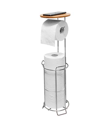 JackCubeDesign JACKCUBE Design Toilet Tissue Paper Holder Stand with Bamboo Shelf (Bamboo Shelf : MK466A)