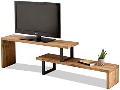 Mesa televisión, Mueble TV Salón Diseño Industrial-Vintage, Extensible de 140 cm a 170 cm, Madera Maciza Natural, Patas Metálicas.: Amazon.es: Electrónica