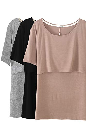 172e588dcff3e Smallshow 3 Pcs Maternity Nursing T-Shirt Modal Short Sleeve Nursing Tops  Brown-Black