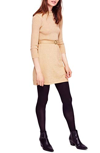 (Free People French Girl Sweater Minidress Gold Medium )