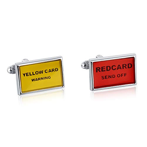 - ANAZOZ Stainless Steel Cufflinkss for Men Shirt Cufflinks Yellow Red 1.3x2CM
