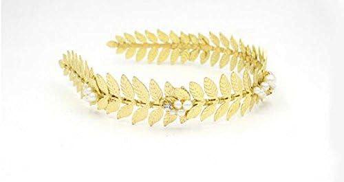 foglie dorate con cristalli Gracewedding Fascia per capelli per spose e damigelle motivo