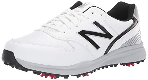Golf White Shoe Comfort - New Balance Men's Sweeper Waterproof Spiked Comfort Golf Shoe, White/Black, 9 2E 2E US