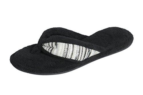 Beverly Rock Woman's Spa Thong Flipflop Slippers in Fun Chic Embroidered Colors (Black) ()
