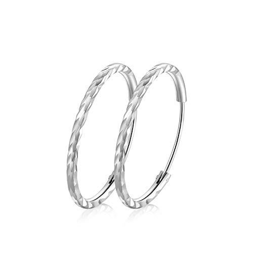 T400 925 Sterling Silver Hoops Diamond Cut Round Circle Lightweight Hoop Earrings Small and Large 25 35 45 55 65 mm Birthday Gift for Women Girls