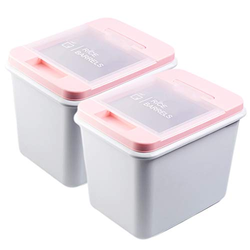 Grain Storage Container 15kg Plastic Clamshell Sealed Rice Barrel Pest Control Moisture-proof Flour Dog Food Cat Food Barrel Storage Box 2 Pack (Color : Pink)