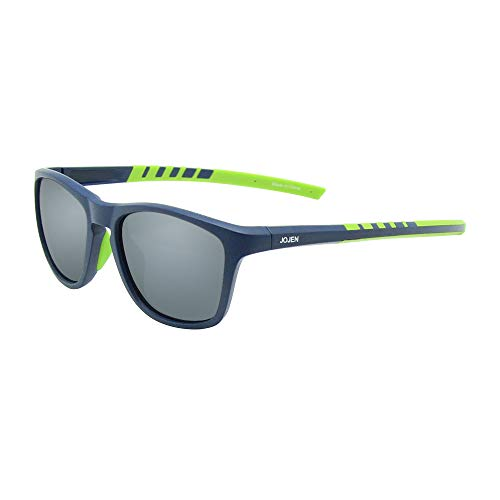 JOJEN Polarized Sports Sunglasses for men women Baseball Running Cycling Fishing Golf Tr90 ultralight Frame JE001 (Blue Frame Mercury REVO Lens) (Best Mens Running Sunglasses)