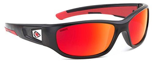 Officially Licensed NFL Sunglasses, Kansas City Chiefs, 3D Logo on Temple - 100% UVA, UVB & UVC - Beach City Sunglasses