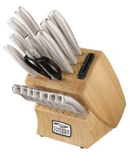 Premium Superior Quality Chicago Cutlery 18-Piece Insignia Steel Knife Set with Block and In-Block Sharpener