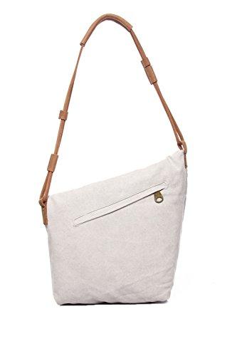 Zenness Verano Nueva Moda Casual simple lienzo Crossbody del mensajero del bolso bolsas de mano para hombres y mujeres (Gris) Blanco