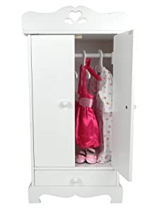 Doll Armoire Furniture Made By Sophiau0027s, 18 Inch White Armoire U0026 3 Doll  Hangers, Fits 18 Inch American Girl Doll Clothes U0026 More! Doll Armoire/Storage  U0026 3 ...