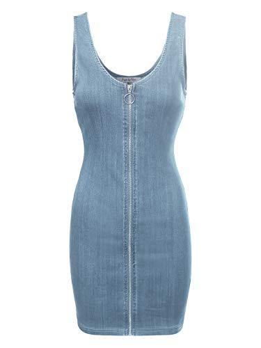 Design by Olivia Women's Slim Fit Sleeveless Zip Up Denim Mini Dress Light Denim S