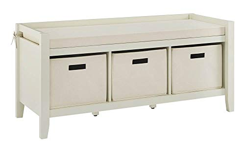 Luray Entryway Bench in White Swan Cream (Swan Bench)