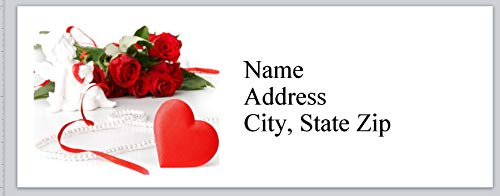 150 Personalized Return Address Labels Primitive Country Heart Roses (BX 777)