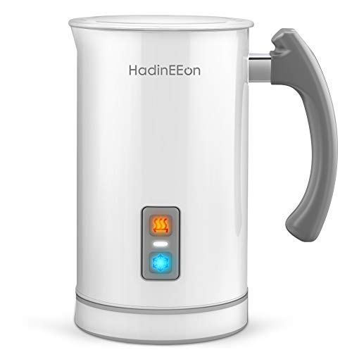 HadinEEon 17.0oz/8.5oz Milk Frother Electric Milk Frother and Warmer Stainless Steel Automatic Hot and Cold Milk Frother and Warmer for Coffee, Latte, Cappuccinos, Hot Chocolates, 650W 120V, White