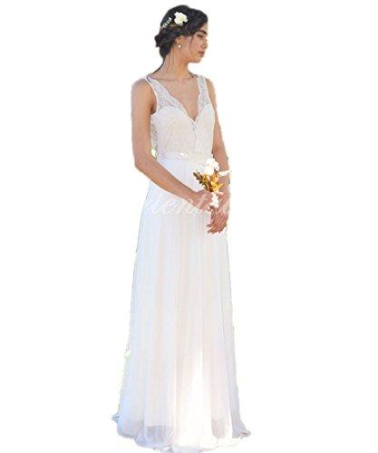 V Spitze Hochzeitskleid Brautkleider Sommer Hochzeitskleider Jahrgang Braut Strand Rückenfrei Boho Ausschnitt Elfenbein CoCogirls xYq58TwU