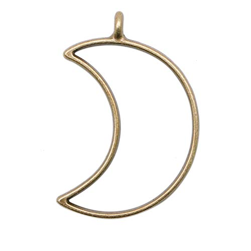 JETEHO 20pcs 25x37mm Moon Open Bezels for Resin with 2.5mm Hoop - Bronze Open Back Bezel Pendant Blanks for Jewelry Making ()