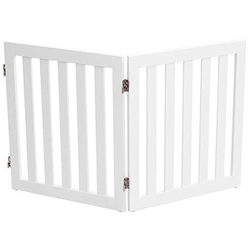 Giantex 24 Wooden Doge Gate, Configurable Freestanding Pet Gate for Small to Medium Sized Pets, Step Over Fence, Foldable Panels for House Doorway Stairs Extra Wide Pet Safety Fence 40 W, White