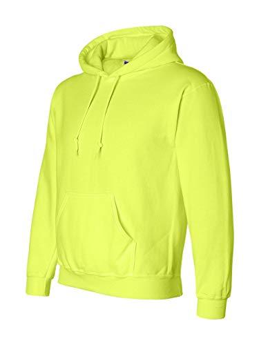 (Gildan G125 DryBlend Adult Hooded Sweatshirt, Safety Green,)