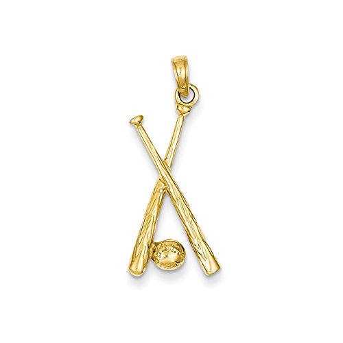 Polished Open Backed Bats - 14k Gold Polished Open-Backed Bats & Ball Baseball Pendant (1.14 in x 0.51 in)
