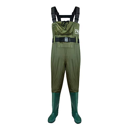 Obcursco Chest Wader for Fishing Hunting Bootfoot, Waterproof Insulated 2-Ply Nylon PVC Wading Cleated Boot for Men Women