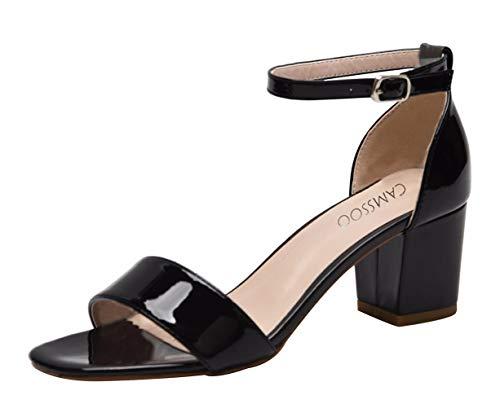 (CAMSSOO Women's Open Buckles Chunk Low Heel Pump Sandals Black Patent PU Size US10 EU41)