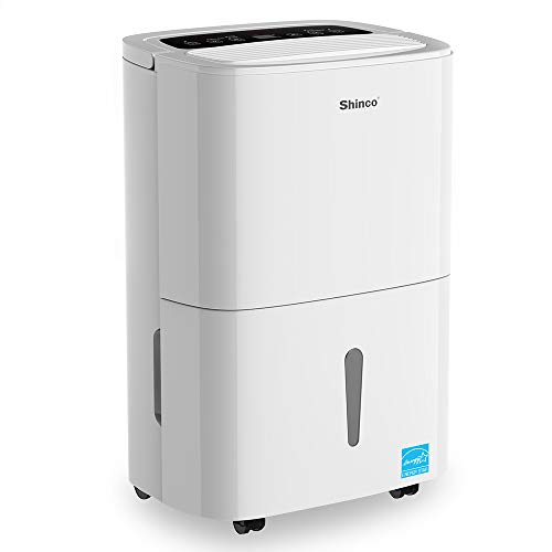 Shinco 50 Pints Portable Dehumidifier, Energy Star, Large Capacity, Compact Dehumidifier for Home, Bathroom, Kitchen, Bedroom, for Spaces Up to 3000 Sq Ft, Continuous Drain Hose ()