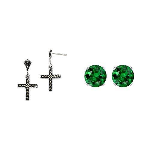 Cross Dangle Post Earrings - 2