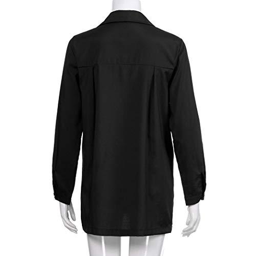 Longues Chemise Boutonn Manches Casual Haut Chemisier AIMEE7 Blouse Solide Noir Femme Znq1wF7Ff