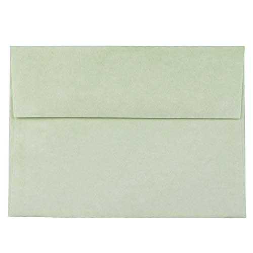 JAM PAPER A7 Parchment Invitation Envelopes - 5 1/4 x 7 1/4 - Green Recycled - - Recycled Birthday Invitations