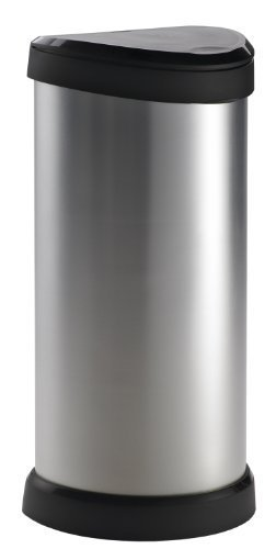 Curver 177729 Metal Effect One Touch Deco Bin, 40 Liters, Silver by Curver