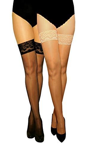 Marilyn transparente, halterlose Strümpfe mit 10 cm Silicon-Haftband-Spitze 15 Denier