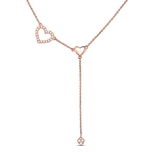 Diamond Heart Drop Pendant - Roy Rose Jewelry 14K Rose Gold Womens Round Diamond Heart Drop Pendant Necklace 1/6-Carat tw