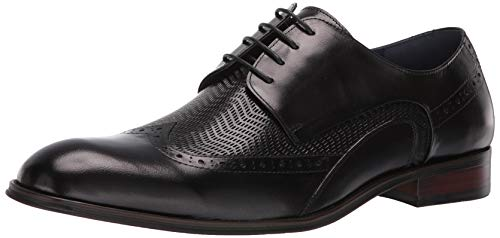 STACY ADAMS Men's Maguire Wing-Tip Lace-Up Oxford, Black 10 M US - Embossed Leather Blazer