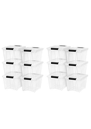 Stack Tote Lids - IRIS 19 Quart Stack & Pull Box, 6 Pack, Clear with Black Handles (12 Pack,19 Quart)
