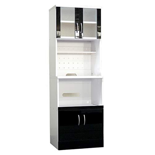食器棚 レンジ台 幅60cm ( 鏡面 レンジボード レンジ収納 ミニ食器棚 レンジラック 大型レンジ対応 木製 ) (ブラック) B07N366BXG
