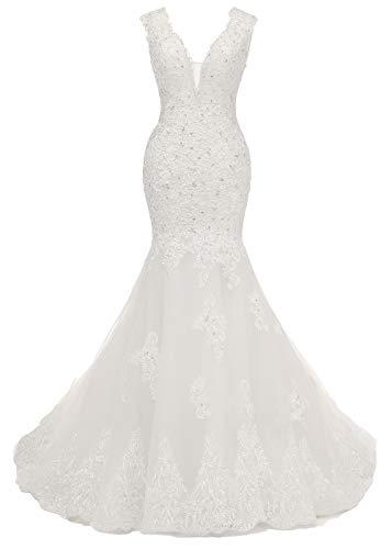 Beauty Bridal V-Off Shoulder Mermaid Wedding Dresses for Bride Lace Applique Bridal Gowns (10,V-White)