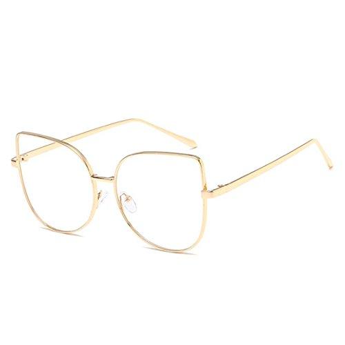 D.King Cat Eye Glasses Frames Clear Lens Metal Frame Eyewear for women Gold