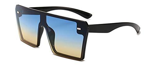 Oversize Square Sunglasses Women Fashion Flat Top Gradient Glasses Men,Blue Yellow Gradient (Ice Sonnenbrillen)