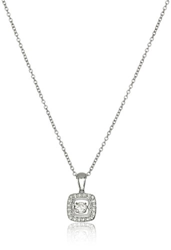 Diamond Peace Pendant - Sterling Silver and Diamond Square Dancing Pendant Necklace (1/5cttw, I-J Color, I3 Clarity), 18