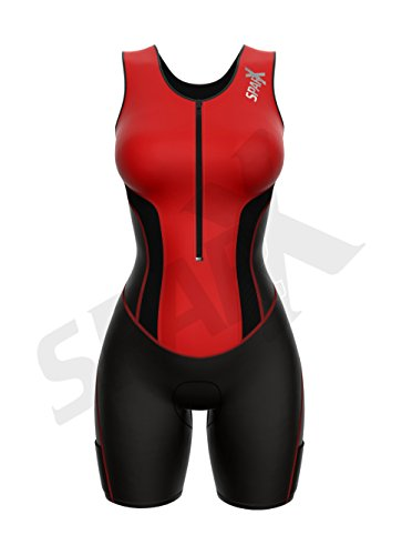 Sparx Women Triathlon Suit Tri Short Racing Cycling Swim Run (Small, Red) by Sparx Sports (Image #1)