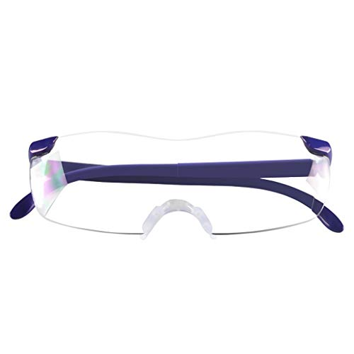 Magnifying Glass for Reading Seniors Wearing Magnifier Reading Glasses Portable Reading Glasses 100-300 Radiation Protection (Color : Dark Blue)