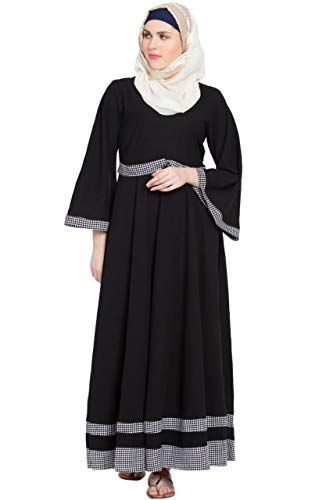 Sabah fashion Black & White Bell Sleeves Abaya Burkha Dress for Girls, Ladies & Women