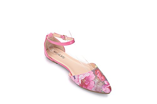 Lilith Toe New 11 Ankle Lady Fashion Pointy D'Orsay Mila Black Fuchsia Flats Woman Floral Strap s 4fwaqy1