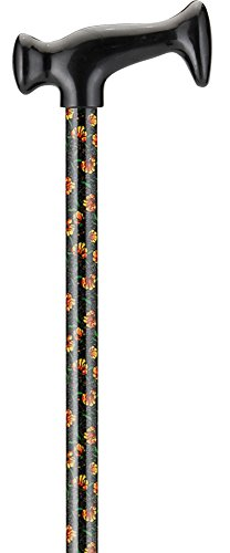NOVA T-Grip Designer Cane, Poppies with Leaves